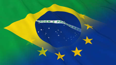 merged: Brazilian and European Union Relations Concept - Merged Flags of Brazil and the EU 3D Illustration