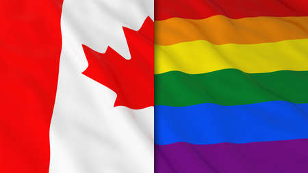 Gay Pride in Canada Concept - Split Rainbow Flag and Canadian Flag 3D Illustration