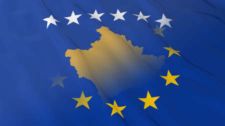 opposed: Kosovan and European Union Relations Concept - Merged Flags of Kosovo and the EU 3D Illustration Stock Photo