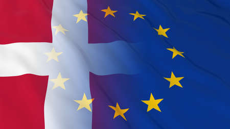 opposed: Danish and European Union Relations Concept - Merged Flags of Denmark and the EU 3D Illustration Stock Photo