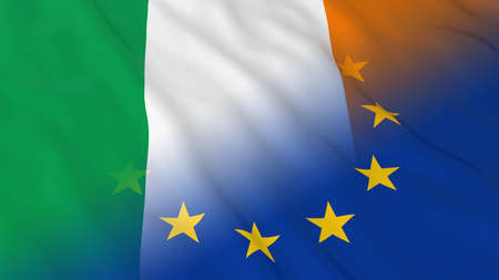 opposed: Irish and European Union Relations Concept - Merged Flags of Ireland and the EU 3D Illustration