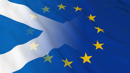 Scottish and European Union Relations Concept - Merged Flags of Scotland and the EU 3D Illustration Stock Photo