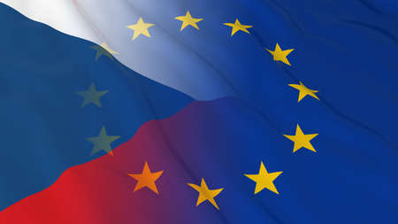 merged: Czech and European Union Relations Concept - Merged Flags of the Czech Republic and the EU 3D Illustration