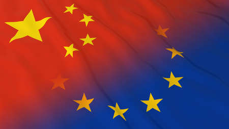 relations: Chinese and European Union Relations Concept - Merged Flags of China and the EU 3D Illustration Stock Photo