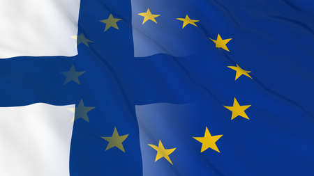 merged: Finnish and European Union Relations Concept - Merged Flags of Finland and the EU 3D Illustration