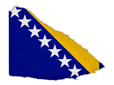 bosnia and herzegovina flag: Flag of Bosnia Herzegovina Torn Paper Scrap Isolated on White Background
