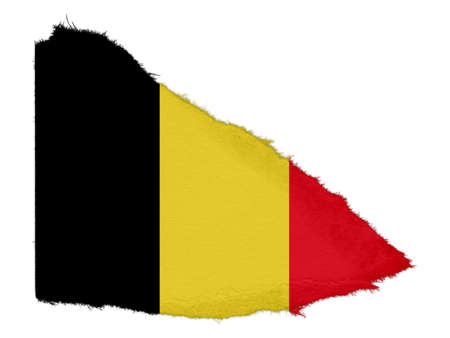 scrap: Flag of Belgium Torn Paper Scrap Isolated on White Background