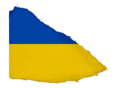 scrap: Flag of Ukraine Torn Paper Scrap Isolated on White Background Stock Photo