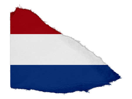 scrap: Flag of the Netherlands Torn Paper Scrap Isolated on White Background
