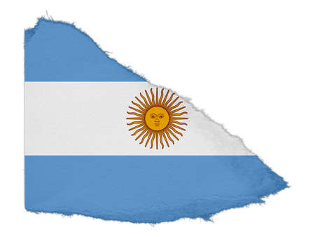 scrap: Flag of Argentina Torn Paper Scrap Isolated on White Background Stock Photo