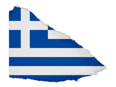 scrap: Flag of Greece Torn Paper Scrap Isolated on White Background Stock Photo