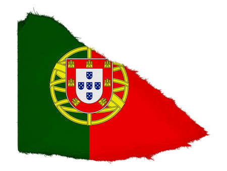 scrap: Flag of Portugal Torn Paper Scrap Isolated on White Background