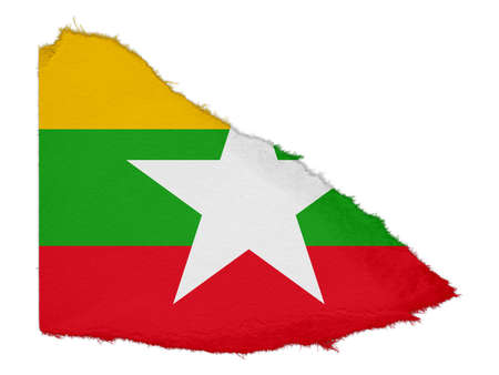 burmese: Flag of Myanmar Torn Paper Scrap Isolated on White Background Stock Photo