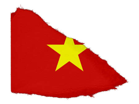 scrap: Flag of Vietnam Torn Paper Scrap Isolated on White Background Stock Photo