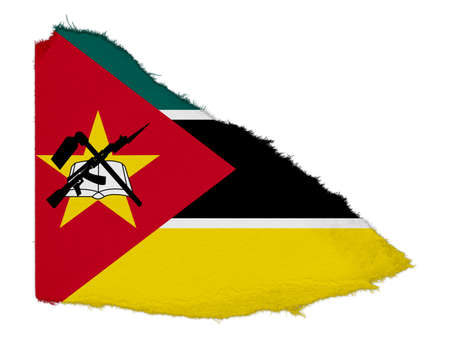 scrap: Flag of Mozambique Torn Paper Scrap Isolated on White Background
