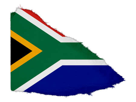 south african flag: Flag of South Africa Torn Paper Scrap Isolated on White Background