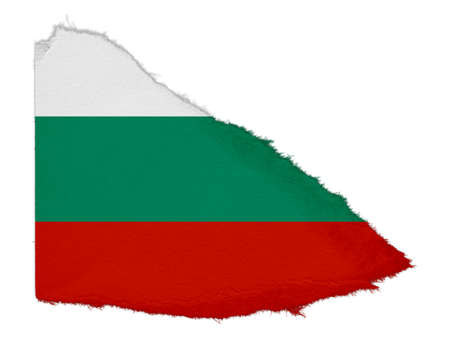 scrap: Flag of Bulgaria Torn Paper Scrap Isolated on White Background
