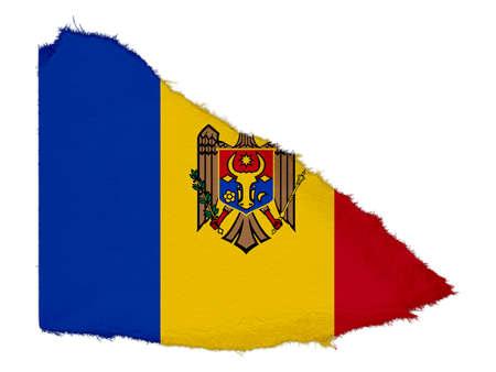 moldova: Flag of Moldova Torn Paper Scrap Isolated on White Background