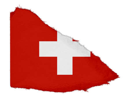 scrap: Flag of Switzerland Torn Paper Scrap Isolated on White Background