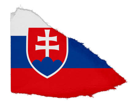 scrap: Flag of Slovakia Torn Paper Scrap Isolated on White Background Stock Photo