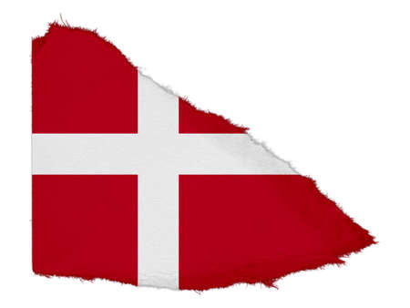 scrap: Flag of Denmark Torn Paper Scrap Isolated on White Background Stock Photo