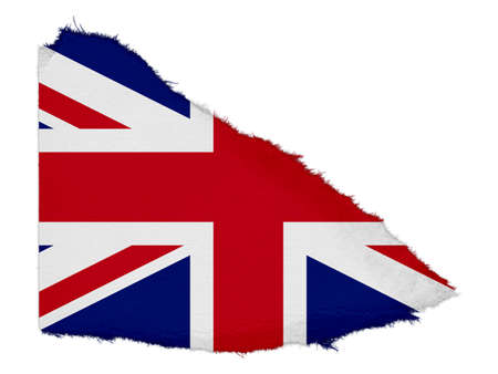 scrap: Flag of the United Kingdom Torn Paper Scrap Isolated on White Background