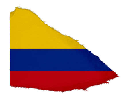 scrap: Flag of Colombia Torn Paper Scrap Isolated on White Background Stock Photo