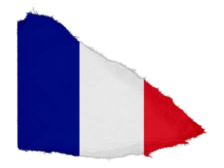 scrap: Flag of France Torn Paper Scrap Isolated on White Background