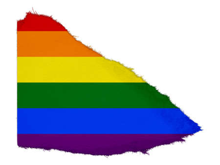 gay pride flag: Gay Pride Flag Torn Paper Scrap Isolated on White Background