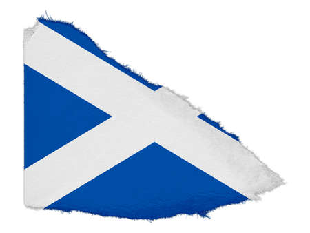 scrap: Flag of Scotland Torn Paper Scrap Isolated on White Background