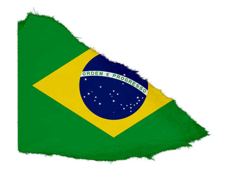 scrap: Flag of Brazil Torn Paper Scrap Isolated on White Background Stock Photo