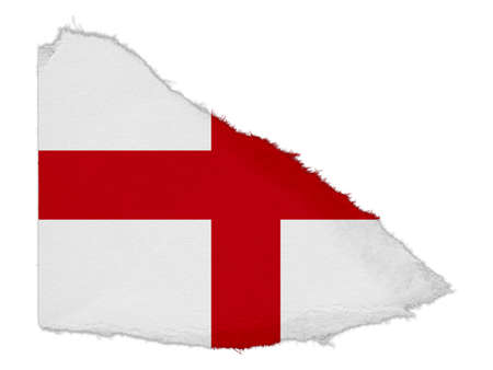 scrap: Flag of England Torn Paper Scrap Isolated on White Background