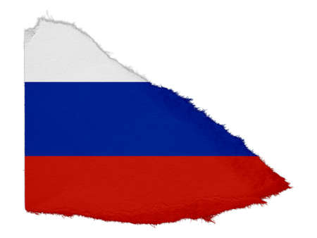 scrap: Flag of Russia Torn Paper Scrap Isolated on White Background