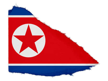 scrap: Flag of North Korea Torn Paper Scrap Isolated on White Background