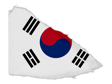 korean national: Flag of South Korea Torn Paper Scrap Isolated on White Background