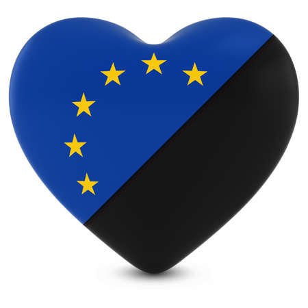 mourn: Black Mourning Heart Mixed with European Union Flag Heart - 3D Illustration Stock Photo