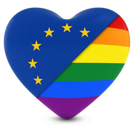 gay pride rainbow: European Union Flag Heart Mixed with Gay Pride Rainbow Flag Heart - 3D Illustration Stock Photo
