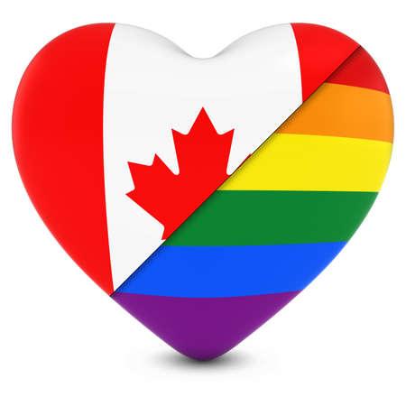 canadian flag: Canadian Flag Heart Mixed with Gay Pride Rainbow Flag Heart - 3D Illustration