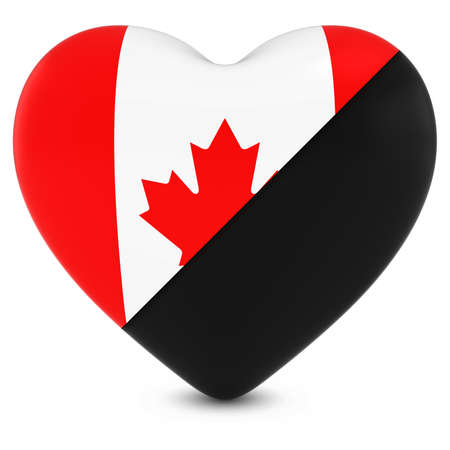 canadian flag: Black Mourning Heart Mixed with Canadian Flag Heart - 3D Illustration Stock Photo