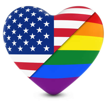 gay pride rainbow: United States Flag Heart Mixed with Gay Pride Rainbow Flag Heart - 3D Illustration Stock Photo