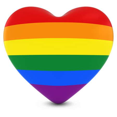 gay pride flag: Gay Pride Flag Heart - Heart Textured with Rainbow Flag 3D Illustration