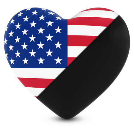 black american: Black Mourning Heart Mixed with American Flag Heart - 3D Illustration