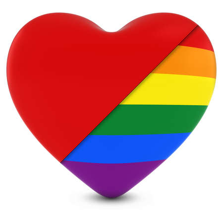 gay pride: Red Heart Mixed with Gay Pride Rainbow Flag Heart - 3D Illustration