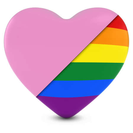 3d rainbow: Pink Heart Mixed with Gay Pride Rainbow Flag Heart - 3D Illustration