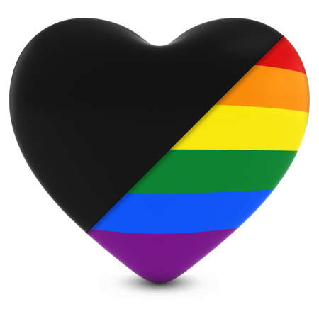 gay pride: Black Mourning Heart Mixed with Gay Pride Rainbow Flag Heart - 3D Illustration Stock Photo