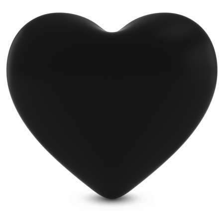 three dimensional shape: Black Mourning Heart Shape Isolated on White - 3D Illustration