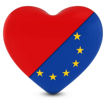 european union flag: Red Heart Mixed with European Union Flag Heart - 3D Illustration Stock Photo
