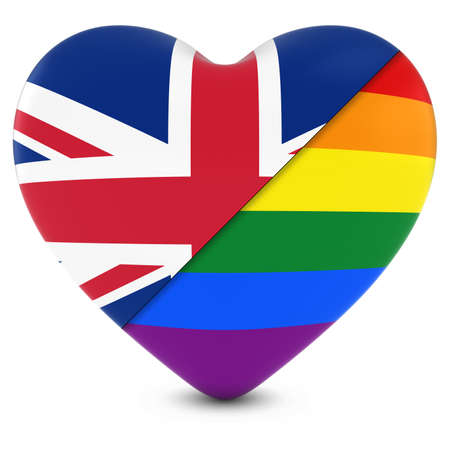 gay pride: United Kingdom Flag Heart Mixed with Gay Pride Rainbow Flag Heart - 3D Illustration