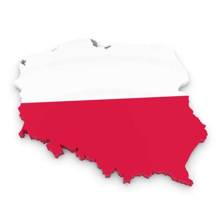 bandera de polonia: 3D Ilustraci�n de contorno Mapa de Polonia con la bandera polaca
