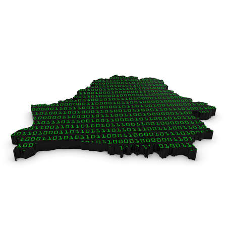 binary code: 3D Illustration Map Outline of Belarus with Green Binary Code
